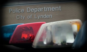 Lynden Police Sign with Light Bar